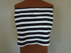 Forever 21 Size S/P Black & White 98% Cotton 2% Spandex Tube Top LN #FOREVER21 #KnitTop #Casual
