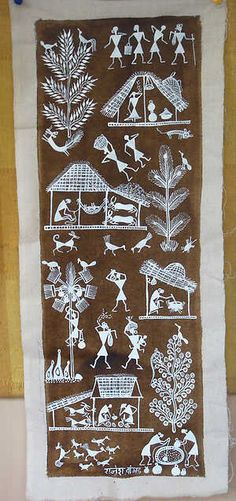 """Warli folk paintings made by the largest tribe in Maharashtra. Often painted on walls, they are a vivid monochrome expression of daily and social events of the tribe and provide the means of transmitting folklore to a once non-literate community. """"Warli"""" come from the word """"warla"""" which means the piece of land."""