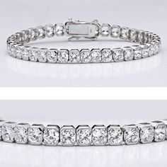 An absolute beauty! This popular cubic zirconia bracelet features radiant square shape stones(4mm each) in a semi bazel mounting. An approximate 12.60 total carat weight, set in 14k white gold. This high quality cubic zirconia bracelet is 7 inches long, also available in different lengths via special order. Cubic zirconia weights refer to equivalent diamond carat size.