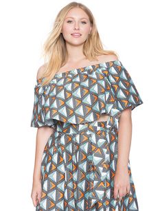 Studio Printed Off the Shoulder Top | Women's Plus Size Tops | ELOQUII