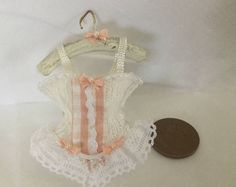 Handmade DollHouse 1:12 scale Miniature Ladies Victorian style peach bow White Lace peach checked material insert Corset on Hanger
