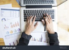 Top View Of Businesswoman'S Hands Working With Laptop On Wooden Table. Stock Photo 396906991 : Shutterstock