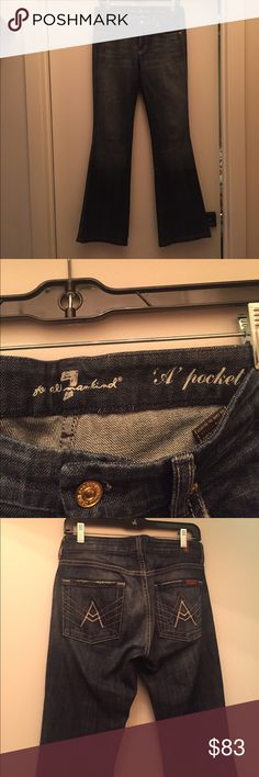 "7 For All Mankind ""A pocket"" jean, size 27. 7 For All Mankind ""A pocket"" jean, size 27. Great condition and awesome darker wash for fall and winter season. 32.25 inch inseam. 7 For All Mankind Jeans"