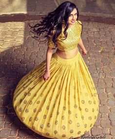 Lehenga Choli in yellow.