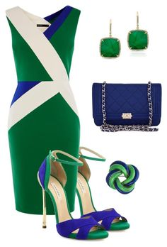 """Blue and Green"" by chauert ❤ liked on Polyvore featuring Casadei, Karen Millen, Anne Sisteron and Chanel"