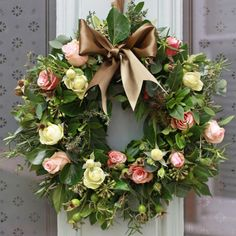 Christmas Antique Rose and Herb Door Wreath