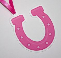 Cowgirl Party - Set of 10 Pink Horseshoe Favor Tags by The Birthday House. $6.00, via Etsy.
