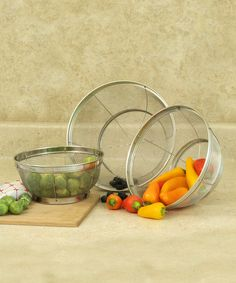 Look at this Stainless Steel Three-Piece Mesh Colander Set on #zulily today!
