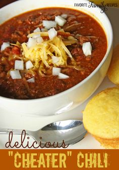 For as long as I can remember my mom has made this chili. We would have about once a week in the Fall and we never got sick of it.