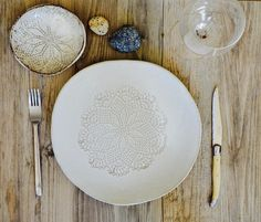 Ceramic dinner plates - White dinnerware plates - set of 4 -ceramic bowl handmade tableware  pottery by Christiane Barbato