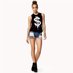 $ print street sleeveless short vest