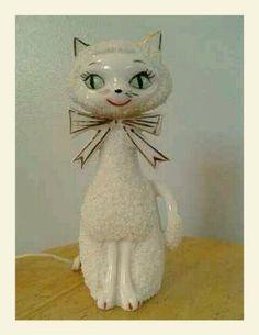 Retro ceramic Kitty TV Lamp
