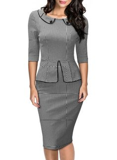 MIUSOL Women's Retro Neck Houndstooth-Print Peplum 1/2 Sleeve Formal Pencil Dress, Gray, Medium