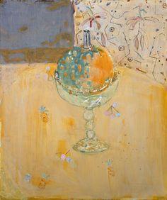 """peinture française : Pierre Lesieur, 1998, """"Coloquinte"""", fruit, compotier, 1990s"""