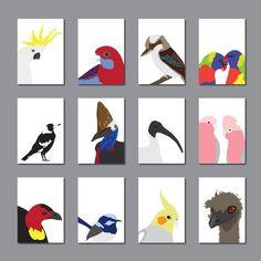 """Gorgeous set of cards featuring Australian birds from birdie mckelvey"" in order; Sulphur Crested Cockatoo, Crimson Rosella, Laughing Kookaburra, Rainbow Lorikeets, Magpie, Cassowary, Ibis, Galah, Bush/Brush Turkey, Fairy Wren, Cockatiel and Emu. Turkey Tattoos, Patchwork Baby, Australian Birds, Cockatiel, Bird Cards, Mural Art, Wren, Magpie, Tweet Tweet"