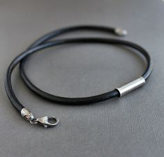 Mens Cord Necklace Sterling Silver Tube Black Leather by LynnToddDesigns