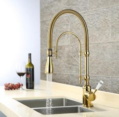 European Style Brass Gold/Chrome Finished Kitchen Faucet Dish Basin Spring  Cold Heat Sink Multi