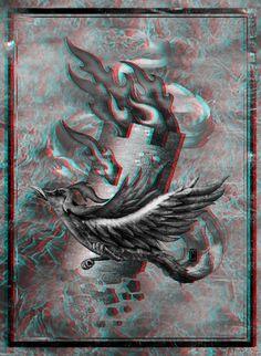 Феникс сжигает башню Phoenix burns tower Анаглиф Anaglyph