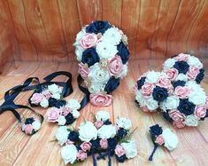 Navy and pink wedding bouquet package, artificial bouquets, navy white and pink wedding, wedding bouquet, wedding flowers - Navy and pink wedding bouquet package artificial bouquets Navy Blue Wedding Theme, Navy Blush Weddings, Blue And Blush Wedding, Blush Pink Bridesmaids, Navy Wedding Flowers, Pink And White Weddings, Navy Blue Bridesmaid Dresses, Wedding Bouquets, Wedding White