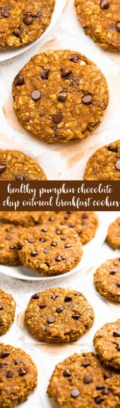 {HEALTHY!} Pumpkin Chocolate Chip Oatmeal Breakfast Cookies -- only 78 calories! They taste like pumpkin pie! Soft, chewy & the BEST pumpkin oatmeal cookies you'll ever have!