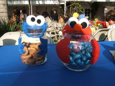 cookie monster party ideas | dyanara s 1st birthday hand made center pieces filled with cookies and ...