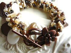 Beads and Crochet Bracelet - Sable and Ivory - Browns and Creams - Crocheted Jewelry - Mother of Pearl - Handmade Jewelry - Beaded Bracelet