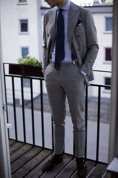 grey checked suit × striped shirt