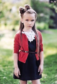 Sassy prep: navy dress +'red cardigan