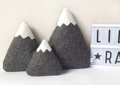 Great decoration for baby room. Decorations – Felt Mountains, Mountain Pillows, Nursery Decor – a unique product by LilyRazz via en.DaWanda.com