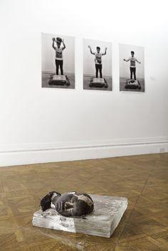 After Ai (Self Portrait) - jesfan 65lb of cast iron head (artist's own head)  150lb of hot glass Woodsgerry Gallery, RI, USA 2014