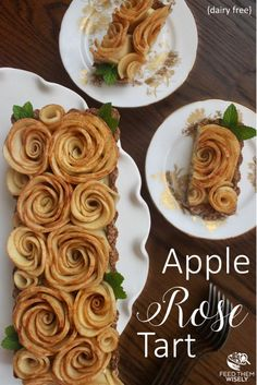 Delight your guests with this dairy-free Apple Rose Tart. Delicious baked apple roses sit on a bed of silky coconut cream in an almond whole wheat pastry. #appletart #recipe #rose #healthy #dairyfree #almond #coconutmilk