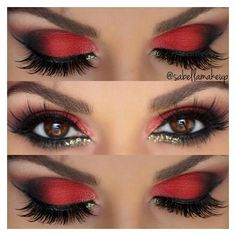 Make up augen lidschatten rot schwarz amzn to 40 amazing red eyeshadow makeup ideas for the coming valentine s day page 32 of 40 Red Eye Makeup, Smokey Eye Makeup, Hair Makeup, Makeup Eyeshadow, Red And Black Eye Makeup, Red Queen Makeup, Queen Of Hearts Makeup, Red Eyeliner, Eyeshadow Palette