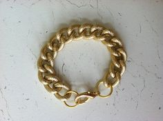 Textured gold chain bracelet by TheWayWeAre on Etsy, $18.00