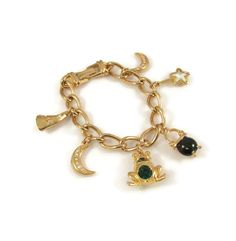 New to VintageVegasGems on Etsy: Gold Tone Wizard and Witch Themed Charm Bracelet (30.00 USD)