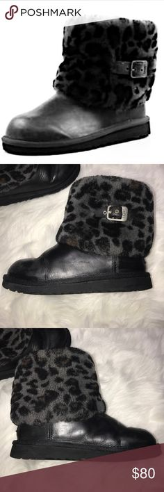 Australia Ellee Stout Snow Leopard Shearling UGGs • RARE • Gently used • Visible signs of wear • Overall good condition • Size 4 • Lots of life left!! • Mostly black and Grey with a little Brown • Clean interiors • UGG Shoes Rain & Snow Boots