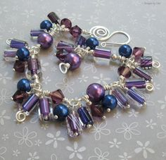 Furnace Glass Charm Bracelet, Wire Wrapped Blue and Purple Swarovski Crystals & Pearls