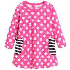 Frogwill Little Girls Long Sleeve Dress Polk Dot Jersey Tunic Top 6T. Girls Dress Long Sleeve Polka Dot Dress. Gathered at bodice. Material: 100% Cotton. Machine wash, tumble dry. Take polka dots out for a twirl in an easy to wear dress.