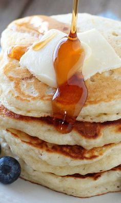 Buttermilk Pancakes: 2 cups all-purpose flour, ¼ cup sugar, 2¼ teaspoons baking powder, ½ teaspoon baking soda, ½ teaspoon salt, 2 eggs, 2 cups buttermilk and ¼ cup unsalted butter (melted).