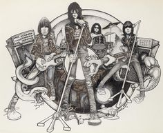 The original album cover for the Ramones 1978 'Road To Ruin' which was drawn by Gus MacDonald featured Tommy Ramone on drums. But after Tommy left and was replaced by Marky, cartoonist John Holmstrom was brought in to redesign it to include Marky instead of Tommy.