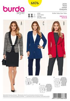 Burda 6876 Misses' Blazer/Jacket Copyright: Size: --Please see last photo for size chart This pattern is UNCUT/FACTORY FOLDED Envelope has minor shelf wear. Pattern comes from a smoke free/pet free environment. Burda Patterns, Clothing Patterns, Sewing Patterns, Style Patterns, Sewing Ideas, Sewing Projects, Blazer Pattern, Jacket Pattern, Coats For Women