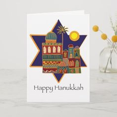 Shop Happy Hanukkah Star Holiday Card created by itsmev. How To Celebrate Hanukkah, Happy Hanukkah, Israel Holidays, Holiday Cards, Christmas Cards, Create Your Own, Create Yourself, Star Of David, Modern Graphic Design