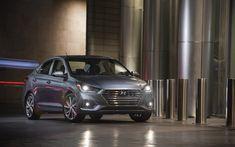 Download wallpapers Hyundai Accent, headlights, 2018 cars, new Accent, night, korean cars, Hyundai