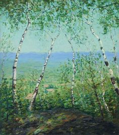 """White Birch Trees,"" Emma Fordyce MacRae, oil on canvas, 34 x 30:, private collection."