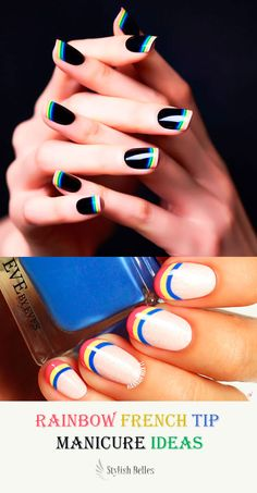 Rainbow French Tip Manicure Ideas! #french_manicure #rainbow_nails