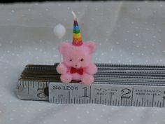 Little Vintage Pink Flocked Birthday Bear