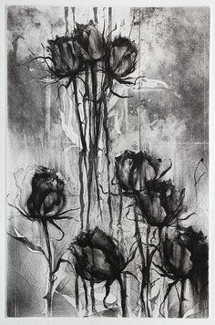 Jake Muirhead, 'Black Roses', etching, sugar-lift aquatint and drypoint Intaglio Printmaking, Art Business Cards, Black Rose Tattoos, Etching Prints, Abstract Drawings, Rose Art, Sugar Tattoo, Flower Art, Doodle 2