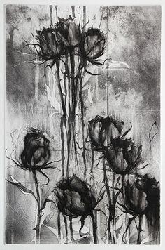 Jake Muirhead, 'Black Roses', etching, sugar-lift aquatint and drypoint