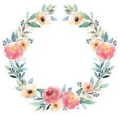 Watercolor Flowers Tutorial, Floral Wreath Watercolor, Flower Background Wallpaper, Flower Backgrounds, Watercolor Wallpaper, Watercolor Cards, Circle Borders, Free Printable Stationery, Flower Circle