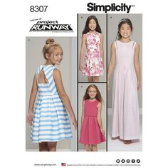 Simplicity Pattern 8307 Girls' and Girl Plus Dress Inspired by Project Runway