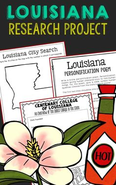 Louisiana State History Research Project. This complete notebook unit is the perfect companion to your annual state studies. Your students will use the internet to research a variety of topics to include: economics, government, geography, politics, current events, higher education, weather, historical figures, Native Americans, state symbols and icons, historic timeline, state flag, folk songs, Westward Expansion, the Civil War, and the Industrial Revolution.